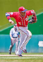 21 June 2015: Washington Nationals infielder Yunel Escobar makes a bare-handed out to end the 3rd inning against the Pittsburgh Pirates at Nationals Park in Washington, DC. The Nationals defeated the Pirates 9-2 to sweep their 3-game weekend series, and improve their record to 37-33. Mandatory Credit: Ed Wolfstein Photo *** RAW (NEF) Image File Available ***