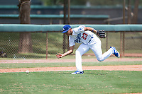 AZL Dodgers third baseman Leonel Valera (23) fields a ground ball during an Arizona League game against the AZL Padres 2 at Camelback Ranch on July 4, 2018 in Glendale, Arizona. The AZL Dodgers defeated the AZL Padres 2 9-8. (Zachary Lucy/Four Seam Images)