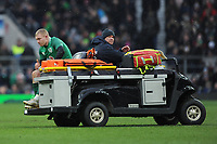 Keith Earls of Ireland leaves the field with a knee injury during the NatWest 6 Nations match between England and Ireland at Twickenham Stadium on Saturday 17th March 2018 (Photo by Rob Munro/Stewart Communications)