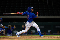 AZL Cubs 1 Fabian Pertuz (12) at bat during an Arizona League game against the AZL Royals on June 30, 2019 at Sloan Park in Mesa, Arizona. AZL Royals defeated the AZL Cubs 1 9-5. (Zachary Lucy/Four Seam Images)