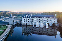 France, Indre-et-Loire (37), Chenonceaux, façade est du château de Chenonceau, jardins et le Cher en automne (vue aérienne)