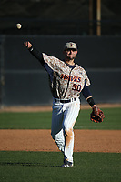 Nick Costello (30) of the Pepperdine Waves throws to first base during a game against the Fresno State Bulldogs at Eddy D. Field Stadium on March 7, 2017 in Los Angeles, California. Pepperdine defeated Fresno State, 8-7. (Larry Goren/Four Seam Images)