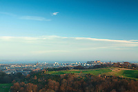 Edinburgh, Edinburgh Castle and the Firth of Forth from Wester Craiglockhart Hill, Edinburgh, Lothian