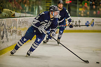 4 January 2014:  Yale University Bulldogs forward Stu Wilson, a Sophomore from Pittsford, NY, in second period action against the University of Vermont Catamounts at Gutterson Fieldhouse in Burlington, Vermont. With an empty net and seconds remaining, the Cats came back to tie the game 3-3 against the 10th seeded Bulldogs. Mandatory Credit: Ed Wolfstein Photo *** RAW (NEF) Image File Available ***