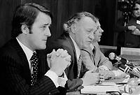 Brian Mulroney, le juge Cliche et Guy Chevrette president la  commission<br />  CLICHE en 1975<br /> <br /> Photo : Alain Renaud - Agence Quebec Presse<br /> <br /> PHOTO :  Agence Quebec Presse