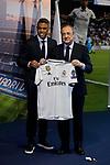 Mariano Diaz and Florentino Perez during the Official presentation of Mariano Diaz at Estadio Santiago Bernabeu in Madrid, Spain. August 31, 2018. (ALTERPHOTOS/A. Perez Meca)
