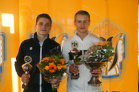 Rotterdam, The Netherlands, 07.03.2014. NOJK ,National Indoor Juniors Championships of 2014, 12and 16 years, Winner boys 16 years Tom Moonen (NED) and runner up   Bart Stevens (NED)(L)<br /> Photo:Tennisimages/Henk Koster