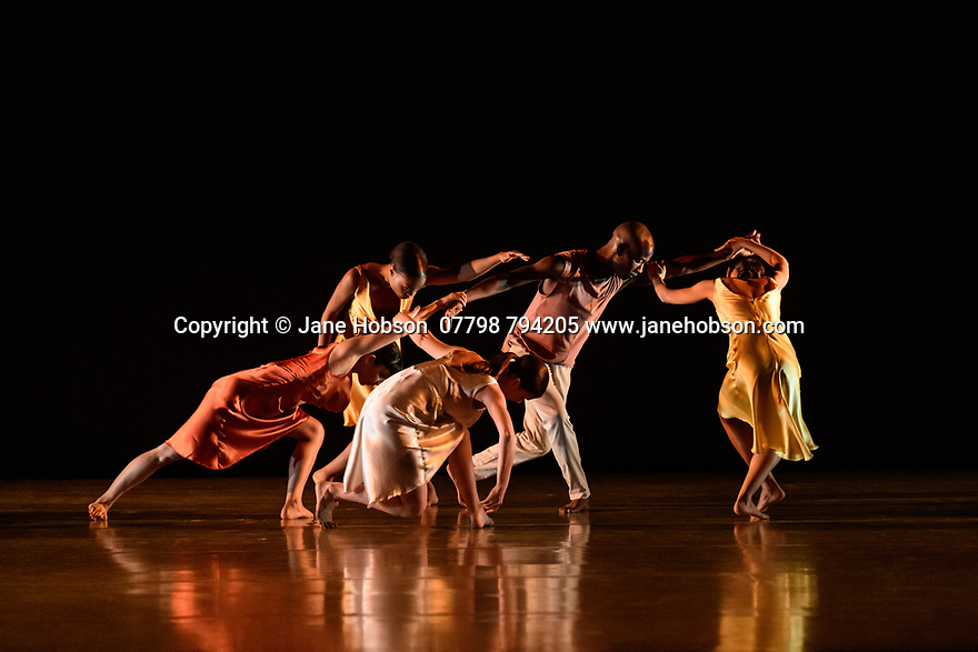 London, UK. 07.03.2020. Richard Alston Dance Company in dress rehearsal of VOICES AND LIGHT FOOTSTEPS ahead of the company's final performances on 7th & 8th March 2020. the dancers are: Elly Braund, Niall Egan, Alejandra Gissler, Joshua Harriette, Jennifer Hayes, Monique Jonas, Nahum McLean, Nicholas Shikkis, Jason Tucker, Ellen Yilma. Photograph © Jane Hobson.