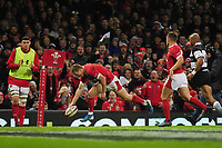 Wales Johnny Mcnicholl scores his sides second try during the International friendly match between Wales and Barbarians at the Principality Stadium in Cardiff, Wales, UK. Saturday 30 November 2019.