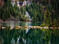 Seven Veils Waterfall and Lake O'hara. Yoho National Park, Opabin Plateau, British Columbia, Canada