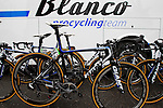 Blanco Pro Cycling Team Giant bikes lined up at the start of the 104th edition of the Milan-San Remo cycle race at Castello Sforzesco in Milan, 17th March 2013 (Photo by Eoin Clarke 2013)
