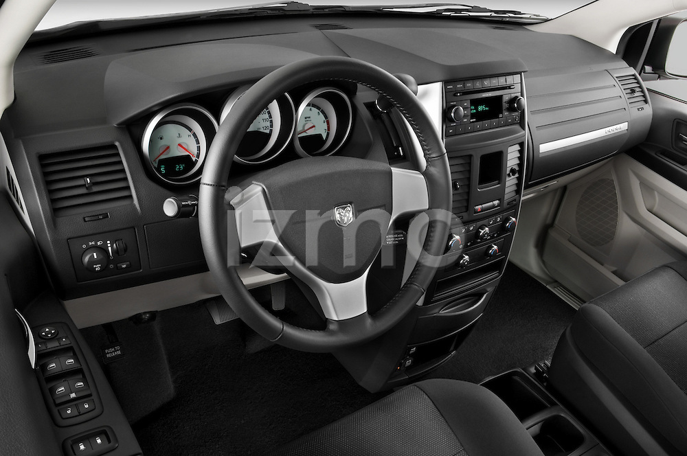 High angle dashboard view of a 2008 Dodge Caravan