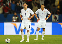 Clint Dempsey (8) and Oguchi Onyewu (5) of USA look dejected after Italy's second goal. Italy defeated USA 3-1 during the FIFA Confederations Cup at Loftus Versfeld Stadium, in Tshwane/Pretoria South Africa on June 15, 2009.