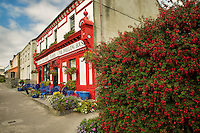 Coffee house/pub, with fuchia flowers. Knightstown,Valentia Island,Republic of Ireland