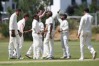 Gidea Park players celebrate taking the wicket of Ravi Teja Dwaraka Bhadmidipati during Oakfield Parkonians CC vs Gidea Park and Romford CC, Hamro Foundation Essex League Cricket at Oakfield Playing Fields on 17th July 2021