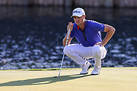 14th March 2021; Ponte Vedra Beach, Florida, USA;  Justin Thomas of the United States lines up a putt on the 18th hole during the final round of THE PLAYERS Championship on March 14, 2021 at TPC Sawgrass Stadium Course in Ponte Vedra Beach, Fl.