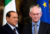 Il Presidente del Consiglio Silvio Berlusconi riceve il Presidente del Consiglio Europeo Herman Van Rompuy, a destra, a Palazzo Chigi, Roma, 8 giugno 2010..Italian Premier Silvio Berlusconi meets European Council President Herman Van Rompuy, right, at Chigi Palace, Rome, 8 june 2010..UPDATE IMAGES PRESS/Riccardo De Luca