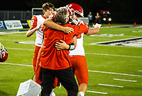 Scott Reed Cabot head football coach celebrates with quarterback Tyler Gee  at Tiger Stadium, Bentonville, Arkansas on Friday, November 20, 2020 / Special to NWA Democrat-Gazette/ David Beach