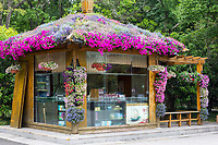 Yangzhou, Jiangsu, China.  Refreshment Stand Covered with Flowers, Slender West Lake Park.