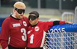 Brendan Gaulin and Ahmad Zeividavi, Toronto 2015 - Goalball.<br /> Canada's men's Goalball team plays against USA in the semi finals // L'équipe masculin de goalball du Canada joue contre les États-Unis en demi-finale. 14/08/2015.
