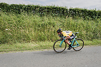 Primoz Roglic (SVK/LottoNL-Jumbo) maximising his efforts to stay with the race leaders<br /> <br /> Ster ZLM Tour (2.1)<br /> Stage 4: Hotel Verviers > La Gileppe (Jalhay)(190km)
