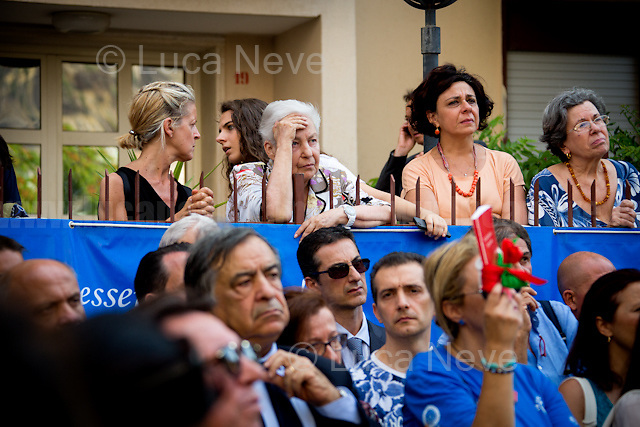 """Rita Borsellino - Magistrate Paolo Borsellino's sister, Anti-Mafia activist, politician & former Member of the European Parliament (MEP) for the Democratic Party (PD) - https://en.wikipedia.org/wiki/Rita_Borsellino .<br /> <br /> Palermo (Sicily - Italy), 19/07/2017. """"Basta depistaggi e omertà di Stato!"""" (""""Stop disinformation & omertá by the State!"""")(1). Public event to commemorate the 25th Anniversary of the assassination of the anti-mafia Magistrate Paolo Borsellino along with five of his police """"scorta"""" (Escorts from the special branch of the Italian police force who protect Judges): Agostino Catalano, Emanuela Loi (The first Italian female member of the police special branch and the first woman of this branch to be killed on duty), Vincenzo Li Muli, Walter Eddie Cosina and Claudio Traina. The event was held at Via D'Amelio, the road where Borsellino was killed. Family members of mafia victims, amongst others, made speeches about their dramatic experiences, mafia violence and unpunished crimes, State cover-ups, silence ('omertá'), and misinformation. Speakers included, amongst others, Vincenzo Agostino & Augusta Schiera, Salvatore & Cristina Catalano, Graziella Accetta, Massimo Sole, Paola Caccia, Luciano Traina, Angela Manca, Stefano Mormile, Ferdinando Imposimato, Judge Nino Di Matteo. The event ended with the screening of the RAI docu-fiction, 'Adesso Tocca A Me' ('Now it's My Turn' - Watch it here: http://bit.ly/2w3WJUX ).<br /> <br /> For more info & a video of the event please click here: http://bit.ly/2eQfNT3 & http://bit.ly/2eQbmrj & http://19luglio1992.com & http://bit.ly/2he8hCj<br /> <br /> (1) 'Omerta' is the term used in Italy to refer to the code of silence used by mafia organisations, as well as the culture of silence that is entrenched in society at large (especially among victims of mafia crimes, as they fear recriminations), about the existence of organised crime and its activities."""