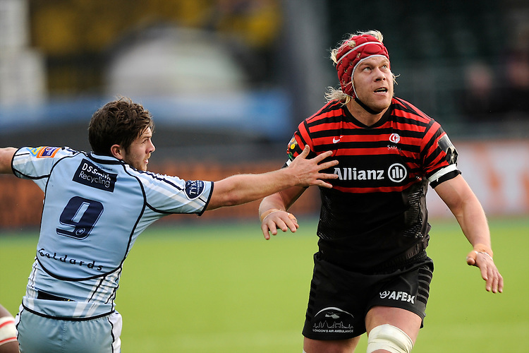 20130127 Copyright onEdition 2013©.Free for editorial use image, please credit: onEdition..Mouritz Botha of Saracens watches the ball during the LV= Cup match between Saracens and Cardiff Blues at Allianz Park on Sunday 27th January 2013 (Photo by Rob Munro)..For press contacts contact: Sam Feasey at brandRapport on M: +44 (0)7717 757114 E: SFeasey@brand-rapport.com..If you require a higher resolution image or you have any other onEdition photographic enquiries, please contact onEdition on 0845 900 2 900 or email info@onEdition.com.This image is copyright onEdition 2013©..This image has been supplied by onEdition and must be credited onEdition. The author is asserting his full Moral rights in relation to the publication of this image. Rights for onward transmission of any image or file is not granted or implied. Changing or deleting Copyright information is illegal as specified in the Copyright, Design and Patents Act 1988. If you are in any way unsure of your right to publish this image please contact onEdition on 0845 900 2 900 or email info@onEdition.com