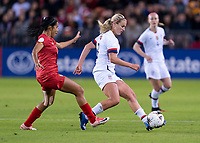 HOUSTON, TX - JANUARY 31: Lindsey Horan #9 of the United States passes the ball during a game between Panama and USWNT at BBVA Stadium on January 31, 2020 in Houston, Texas.