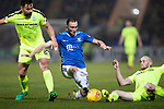 St Johnstone v Hibernian…27.02.19…  McDiarmid Park    SPFL<br />Chrsi Kane is tackled by Darren McGregor and David Gray<br />Picture by Graeme Hart. <br />Copyright Perthshire Picture Agency<br />Tel: 01738 623350  Mobile: 07990 594431