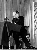 Undated File Photo of<br />  Canadian Prime Minister and leader of the Canadian Liberal Party ; Pierre E. Trudeau, in Montral, Canada<br /> <br /> Born in 1919, Trudeau was first elected in 1965, became Minister of Justice and Attorney General in the 1967 Pearson cabinet, then Prime Minister from 1968 to 1979, when he was defeated by Conservative leader Joe Clark, He was reelected in 1980 and was again Prime Minister until his resignation in 1985, he diedof cancer on september 28, 2000 at the age of 80<br /> <br /> (Photo byJohn Raudsepp - Images Distribution)<br /> ON SPEC<br /> NOTE : scan from B&W print, scans negs available on request