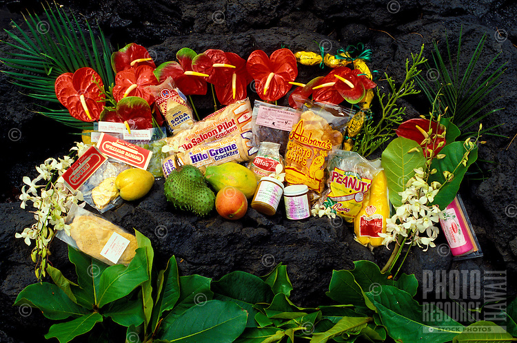 Locally grown fruits and flowers with locally made products