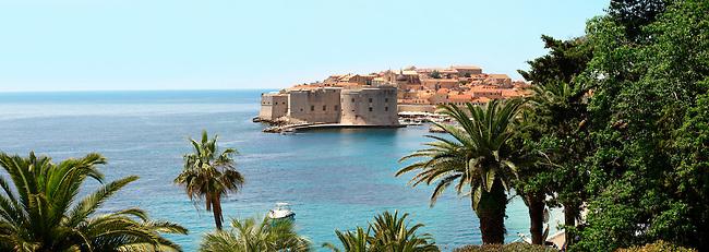 Stock photos of Nightime Dubrovnik Port with St John's Fort - Croatia