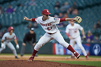 Oklahoma Sooners relief pitcher Jason Ruffcorn (43) in action against the Arkansas Razorbacks in game two of the 2020 Shriners Hospitals for Children College Classic at Minute Maid Park on February 28, 2020 in Houston, Texas. The Sooners defeated the Razorbacks 6-3. (Brian Westerholt/Four Seam Images)