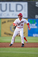 Auburn Doubledays right fielder Pablo O'Connor (28) leads off second base during a game against the Lowell Spinners on July 13, 2018 at Falcon Park in Auburn, New York.  Lowell defeated Auburn 8-5.  (Mike Janes/Four Seam Images)