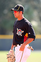 Pittsburgh Pirates minor league first baseman Jared Lakind vs. the Toronto Blue Jays during an Instructional League game at Pirate City in Bradenton, Florida;  October 11, 2010.  Photo By Mike Janes/Four Seam Images