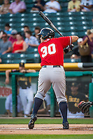 Jesus Montero (30) of the Tacoma Rainiers at bat against the Salt Lake Bees in Pacific Coast League action at Smith's Ballpark on September 2, 2015 in Salt Lake City, Utah. Tacoma defeated Salt Lake 13-6.  (Stephen Smith/Four Seam Images)