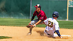 WATERBURY, CT 073121JS07 Midland's Clay Birdette (23) safely steals second base as South Troy's Todd Abraham (3) waits for the throw during their Mickey Mantle World Series baseball game Saturday at Municipal Stadium in Waterbury. <br /> Jim Shannon Republican American