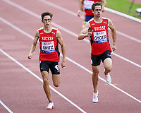 26th August 2021; Lausanne, Switzerland;  Spitz and Gyger of Switzerland during mens 400m at Diamond League athletics meeting  at La Pontaise Olympic Stadium in Lausanne, Switzerland.