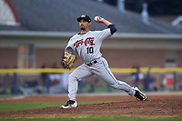 Tri-City ValleyCats relief pitcher Luis Ramirez (10) delivers a pitch during a game against the Batavia Muckdogs on July 14, 2017 at Dwyer Stadium in Batavia, New York.  Batavia defeated Tri-City 8-4.  (Mike Janes/Four Seam Images)