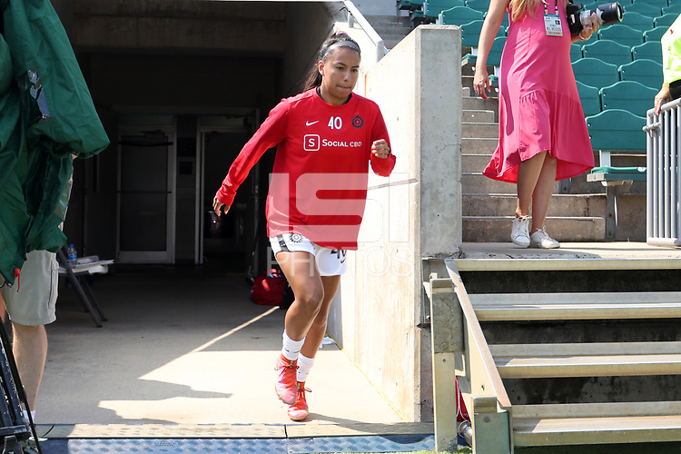 CARY, NC - SEPTEMBER 12: Marissa Everett #40 of the Portland Thorns FC takes the field before a game between Portland Thorns FC and North Carolina Courage at Sahlen's Stadium at WakeMed Soccer Park on September 12, 2021 in Cary, North Carolina.