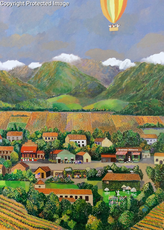 """""""Taste of Yountville""""<br /> Limited Edition Giclee<br /> <br /> 11x14 SN on Paper $295<br /> 26.5x20 SN Paper $950<br /> SN Paper with Original Watercolor Remarque $1,550<br /> AP 40x30 Canvas $1,950<br /> <br /> In the heart of the beautiful Napa Valley lies the iconic village of Yountville....one of Guy's favorite places in all of the world!"""