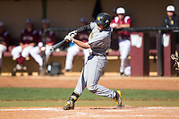 Kal Simmons (10) of the Kennesaw State Owls makes contact with the baseball during the game against the Winthrop Eagles at the Winthrop Ballpark on March 15, 2015 in Rock Hill, South Carolina.  The Eagles defeated the Owls 11-4.  (Brian Westerholt/Four Seam Images)