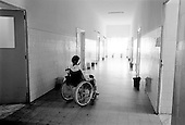 Asmara, Eritrea.November 2002.Birhan Aim Hospital  (Light to the Eye Hospital)..Each patient, following the surgery, is wheeled to a hospital bed for 3 to 4 days so that the eye is allowed to recover in a some what sterile environment.