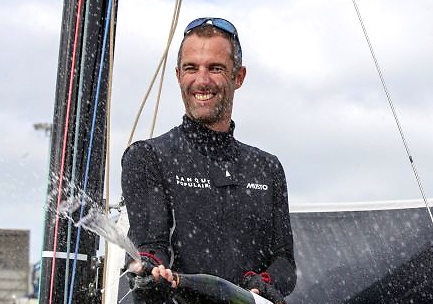 Armel Le Cleach celebrates his third overall victory in the Figaro Solo, September 2020