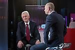 © Joel Goodman - 07973 332324 . 26/09/2016 . Liverpool , UK . Shadow Chancellor JOHN MCDONNELL (l) groans as interviewer EVAN DAVIS (r) introduces a piece on how recognisable members of the Shadow Cabinet are , on Newsnight during the Labour Party Conference at the ACC Conference Centre . Photo credit : Joel Goodman