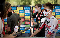 pandemic-proof interviewing Tadej Pogačar (SVN/UAE-Emirates) at the race start in Vienne<br /> <br /> Stage 2: Vienne to Col de Porte (135km)<br /> 72st Critérium du Dauphiné 2020 (2.UWT)<br /> <br /> ©kramon