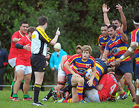 Players react to referee Richard Gordon's call during the Wellington Club Rugby Swindale Shield match between Tawa and Marist St Pats at Lyndhurst Park, Tawa, Wellington, New Zealand on Saturday, 1 June 2013. Photo: Dave Lintott / lintottphoto.co.nz
