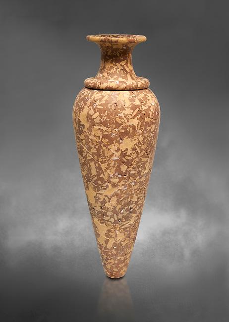 Minoan stone vessel, Zakros Centural Sanctuary Complex  1500-1400 BC; Heraklion Archaeological  Museum, grey background.