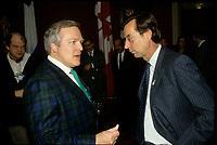 circa 1988 file Photo --Marcel Aubut,<br /> and Robert Bourassa, quebec Premier (R)<br /> <br /> PHOTO : Stephane Fournier - Agence Quebec Presse