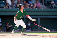 Second baseman Nick Yorke (4) of the Greenville Drive in a game against the Hickory Crawdads on Sunday, August 29, 2021, at Fluor Field at the West End in Greenville, South Carolina. (Tom Priddy/Four Seam Images)